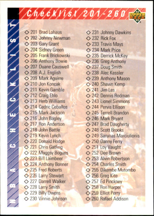 1992-93 Upper Deck #310 Form Checklist 3