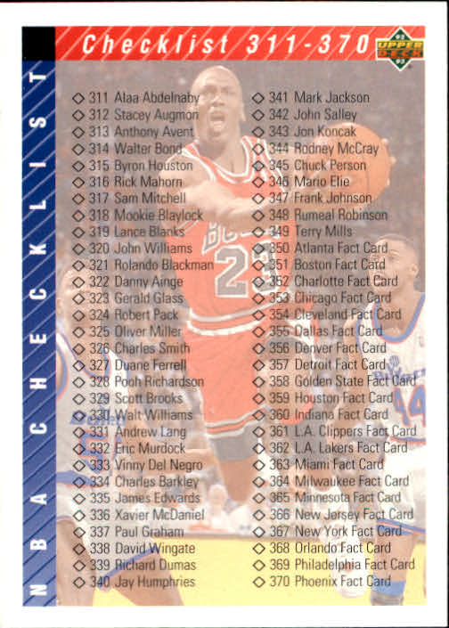 1992-93 Upper Deck #419 Form Checklist