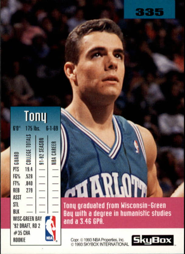 1992-93 SkyBox #335 Tony Bennett SP RC back image