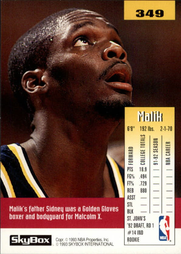 1992-93 SkyBox #349 Malik Sealy SP RC back image