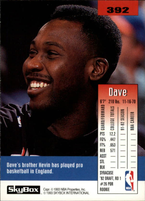 1992-93 SkyBox #392 Dave Johnson SP RC back image