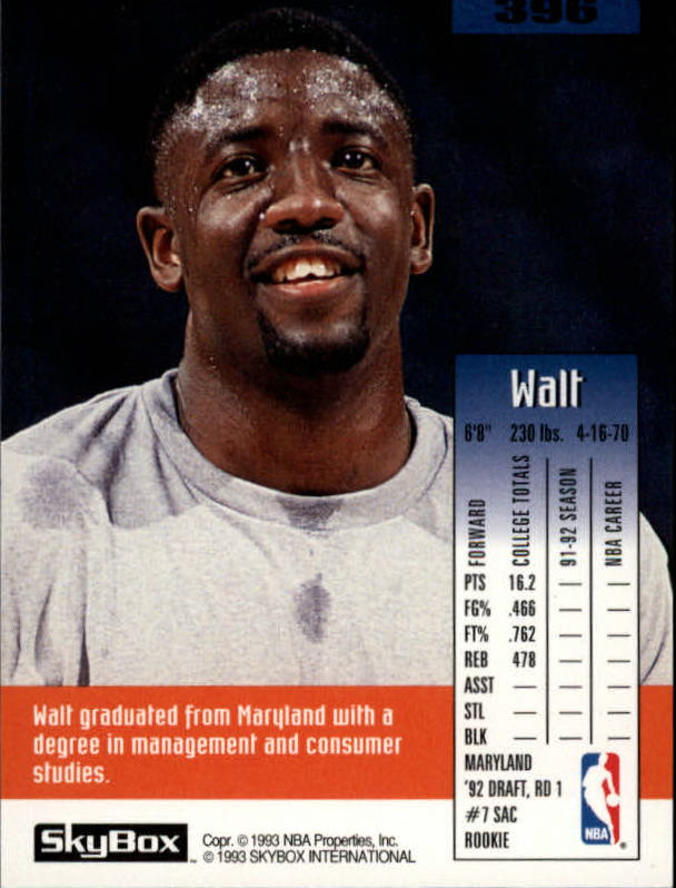 1992-93 SkyBox #396 Walt Williams SP RC back image