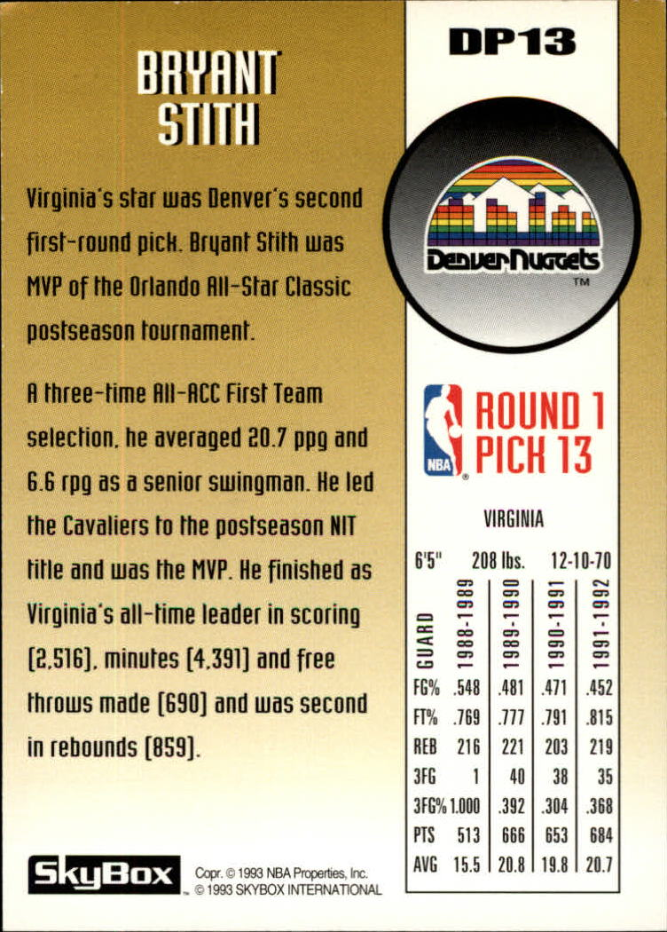 1992-93 SkyBox Draft Picks #DP13 Bryant Stith back image