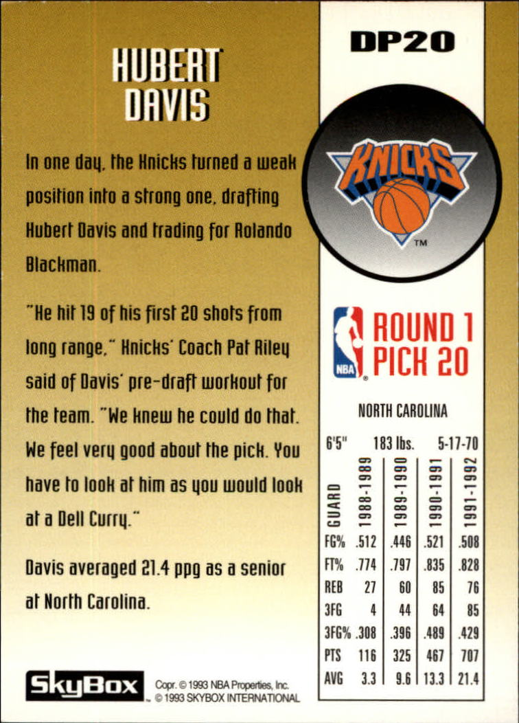 1992-93 SkyBox Draft Picks #DP20 Hubert Davis back image