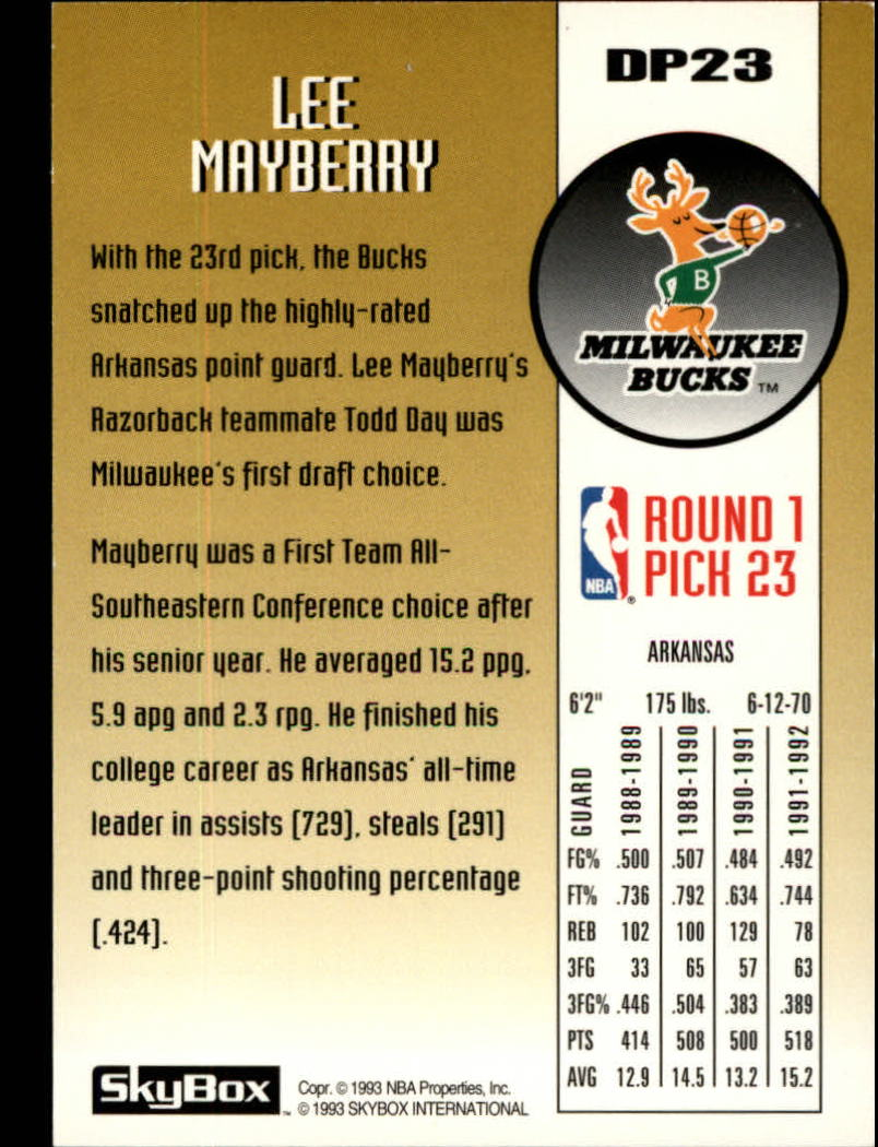 1992-93 SkyBox Draft Picks #DP23 Lee Mayberry back image