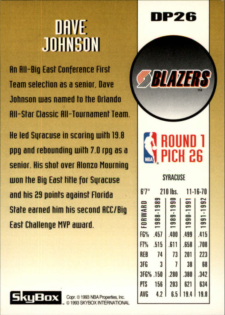 1992-93 SkyBox Draft Picks #DP26 Dave Johnson back image