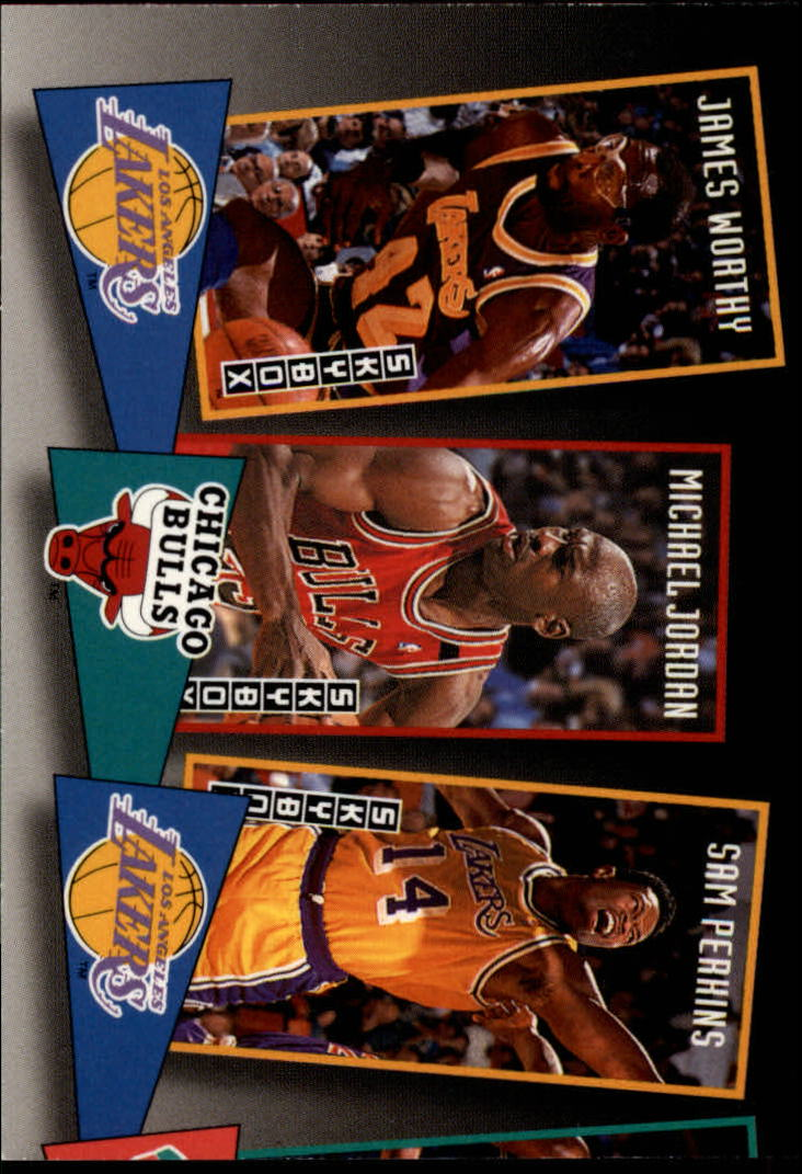 1992-93 SkyBox School Ties #ST16 James Worthy/Michael Jordan/Sam Perkins