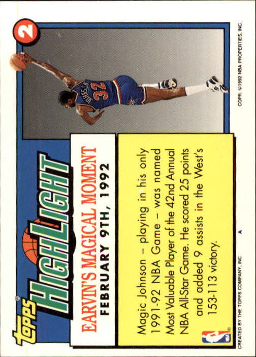 1992-93 Topps #2 Magic Johnson HL/Earvin's Magical Moment 2/9/92 back image
