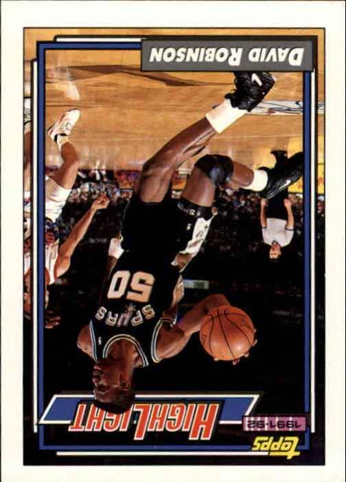 1992-93 Topps #4 David Robinson HL/Admiral Ranks High In Five 4/19/92