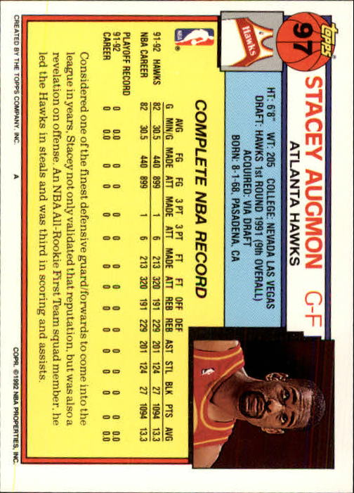 1992-93 Topps #97 Stacey Augmon back image