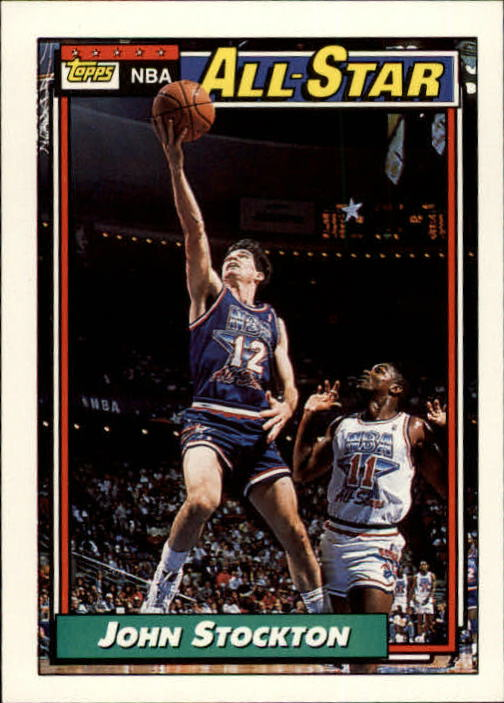 1992-93 Topps #101 John Stockton AS UER/(Listed as Center on card back)