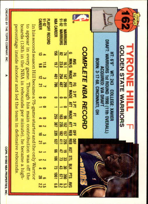 1992-93 Topps #162 Tyrone Hill back image