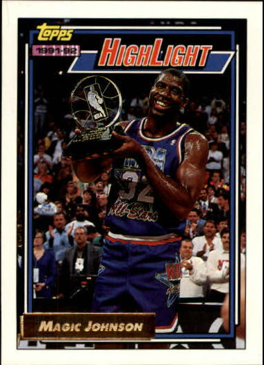 1992-93 Topps Gold #2 Magic Johnson HL/Earvin's Magical/Moment 2/9/92