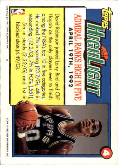 1992-93 Topps Gold #4 David Robinson HL/Admiral Ranks High/In Five 4/19/92 back image
