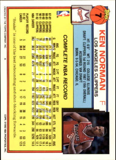 1992-93 Topps Gold #7 Ken Norman back image
