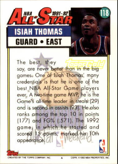 1992-93 Topps Gold #118 Isiah Thomas AS back image