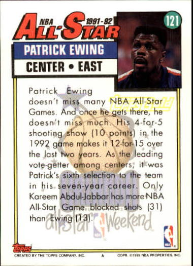 1992-93 Topps Gold #121G Patrick Ewing AS back image