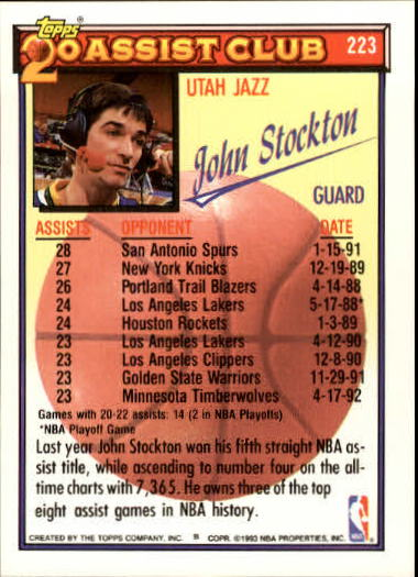 1992-93 Topps Gold #223 John Stockton 20A back image