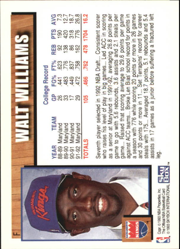 1992-93 Hoops Draft Redemption #F Walt Williams back image