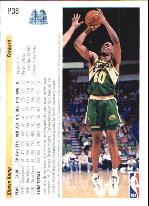 1992-93 Upper Deck McDonald's #P38 Shawn Kemp back image