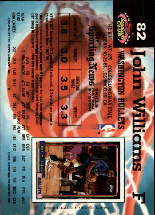 1992-93 Stadium Club Members Only Parallel #82 John Williams back image