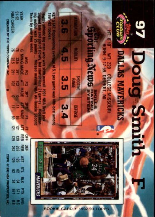 1992-93 Stadium Club Members Only Parallel #97 Doug Smith back image