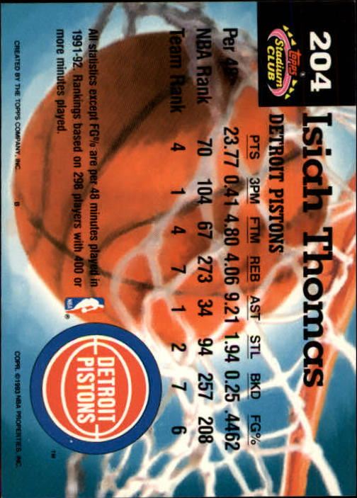1992-93 Stadium Club Members Only Parallel #204 Isiah Thomas MC back image