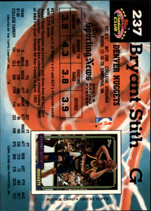 1992-93 Stadium Club Members Only Parallel #237 Bryant Stith UER/(Missing '92 Draft Pick logo) back image
