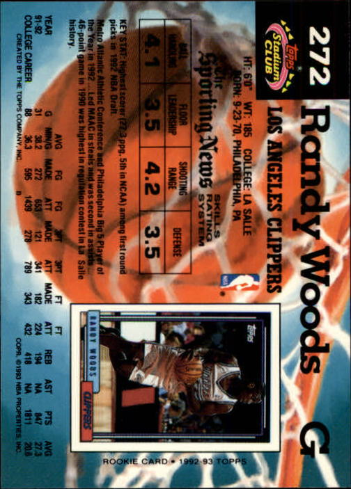 1992-93 Stadium Club Members Only Parallel #272 Randy Woods UER/(Missing '92 Draft Pick logo) back image
