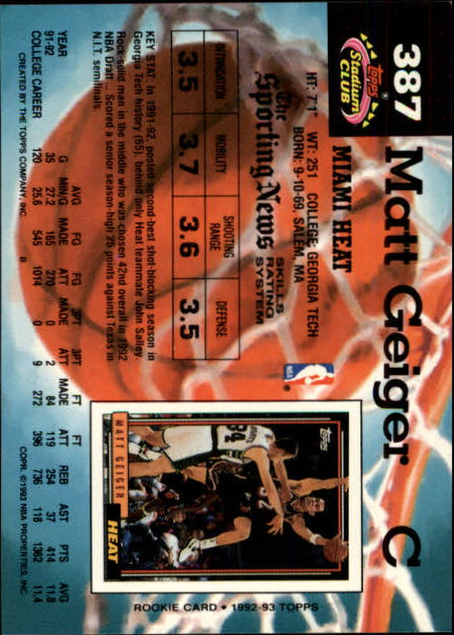 1992-93 Stadium Club Members Only Parallel #387 Matt Geiger UER/(Missing '92 Draft Pick logo) back image