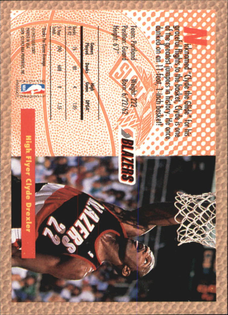 1992-93 Fleer Tony's Pizza #30 Clyde Drexler SD back image