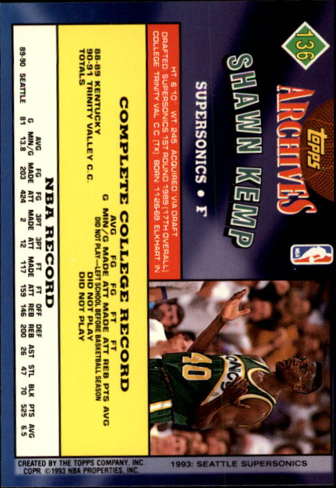 1992-93 Topps Archives #136 Shawn Kemp back image