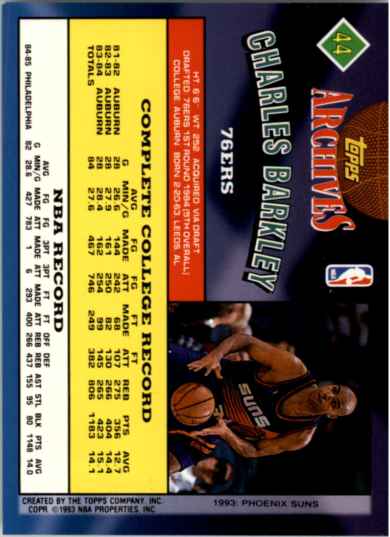 1992-93 Topps Archives Gold #44G Charles Barkley back image
