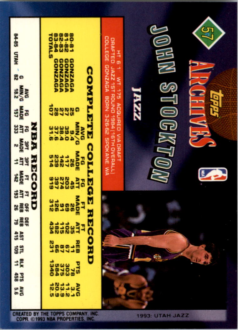 1992-93 Topps Archives Gold #57G John Stockton back image
