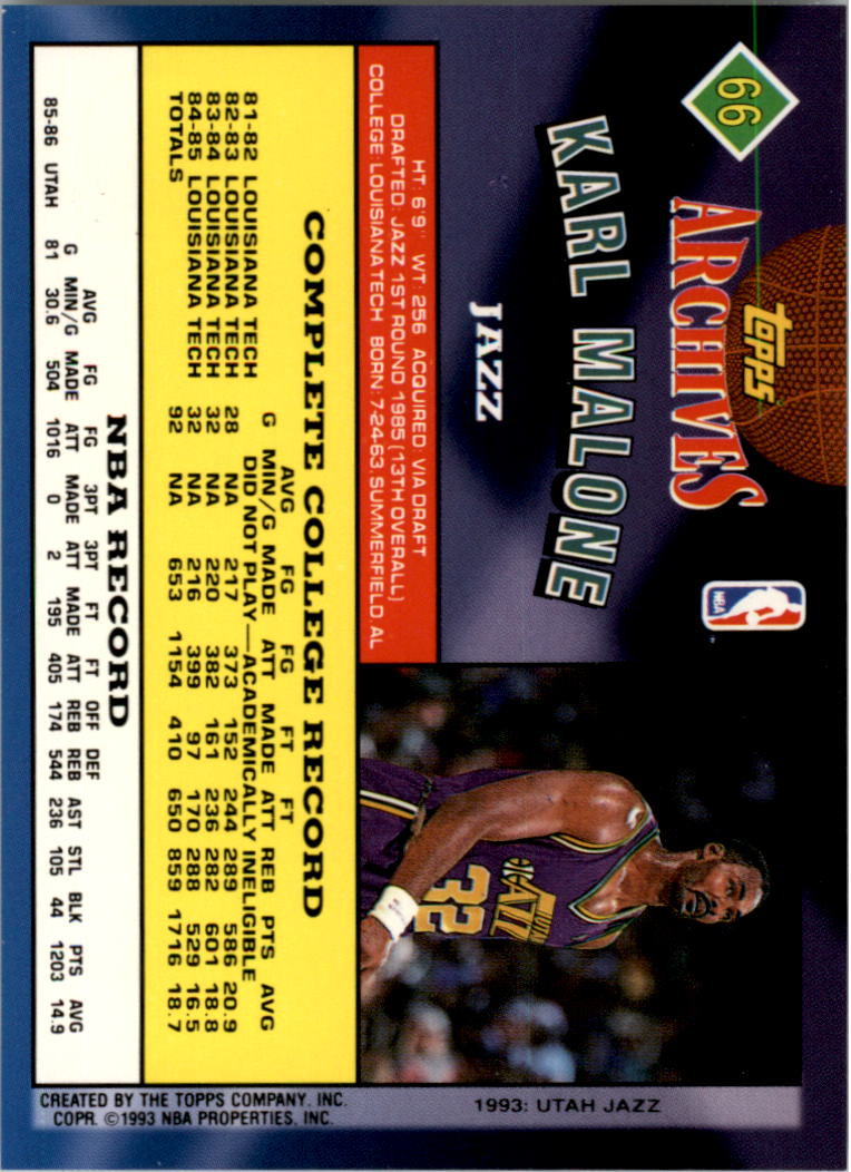 1992-93 Topps Archives Gold #66G Karl Malone back image