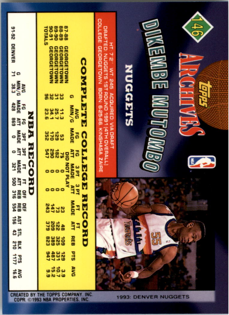 1992-93 Topps Archives Gold #146G Dikembe Mutombo back image