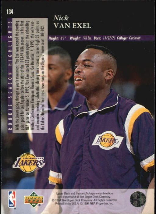 1993-94 Upper Deck SE #134 Nick Van Exel RC back image
