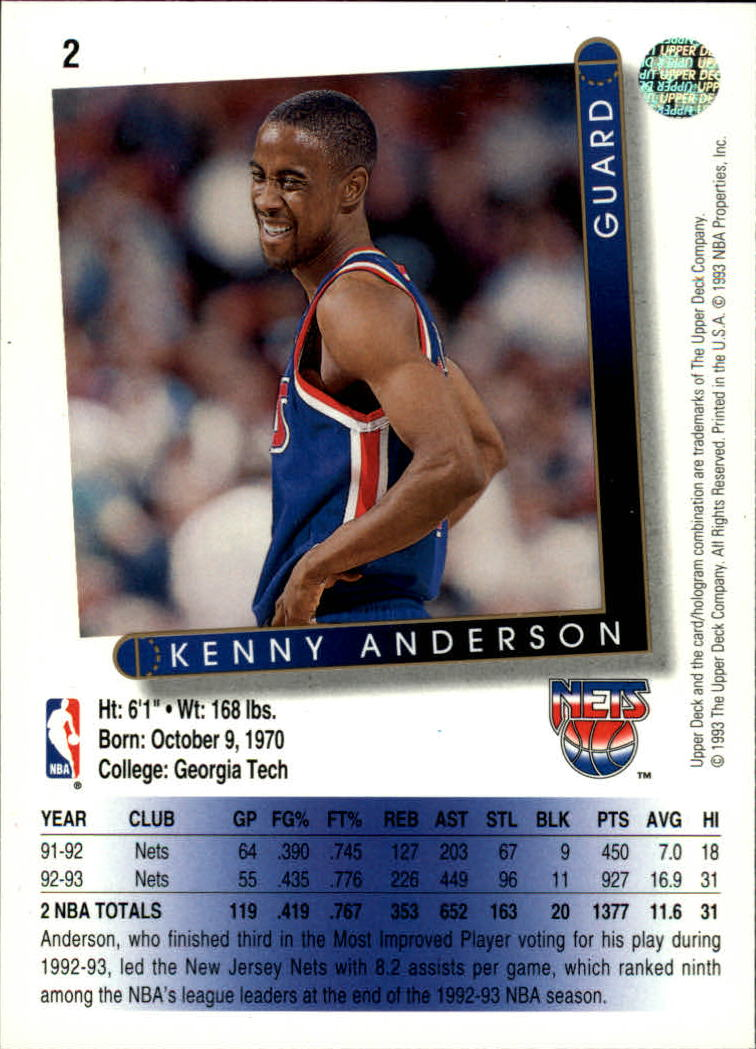 1993-94 Upper Deck #2 Kenny Anderson back image