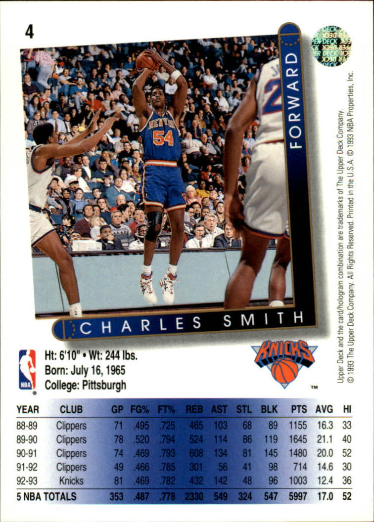 1993-94 Upper Deck #4 Charles Smith back image