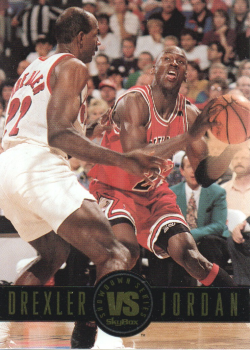 1993-94 SkyBox Premium Showdown Series #SS11 Clyde Drexler/Michael Jordan