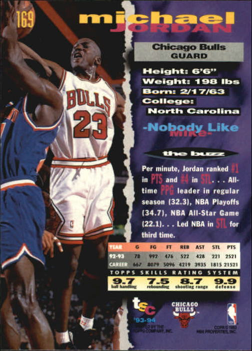1993-94 Stadium Club #169 Michael Jordan