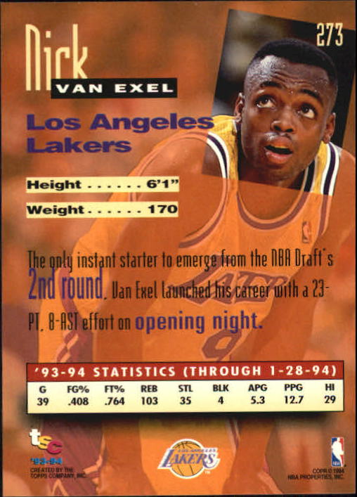 1993-94 Stadium Club #273 Nick Van Exel NW back image