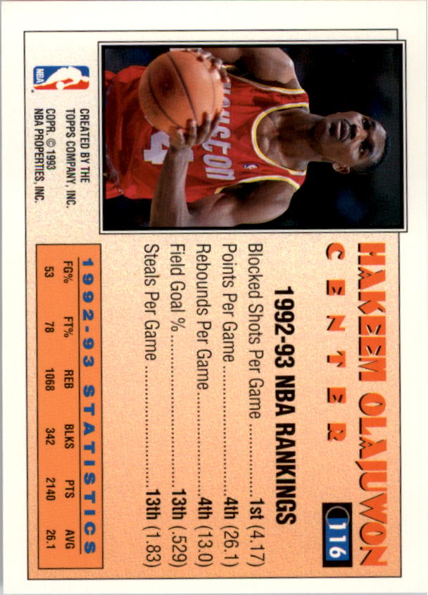 1993-94 Topps Gold #116 Hakeem Olajuwon AS back image