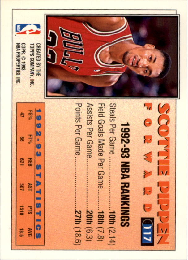 1993-94 Topps Gold #117G Scottie Pippen AS back image
