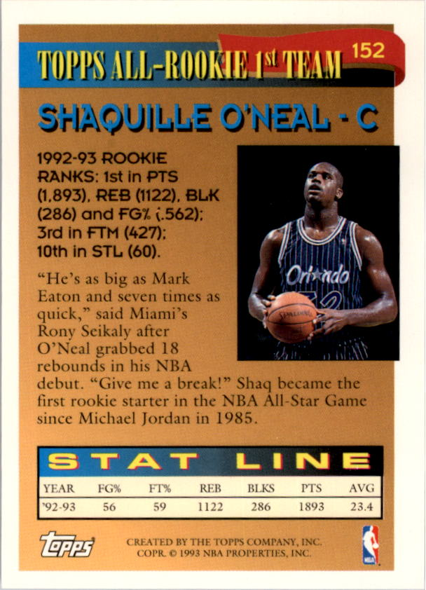 1993-94 Topps Gold #152 Shaquille O'Neal ART back image