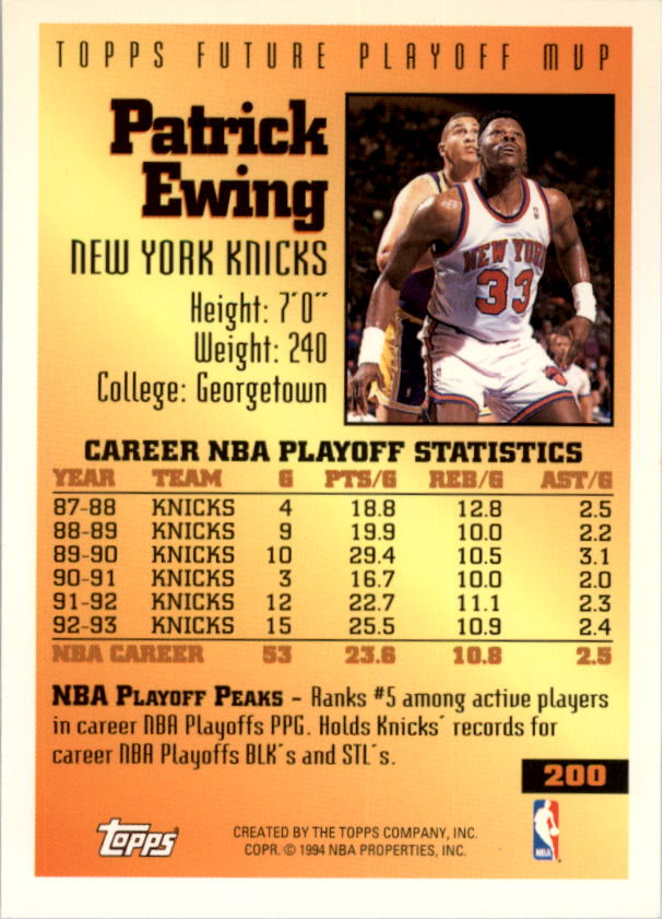 1993-94 Topps Gold #200 Patrick Ewing FPM back image