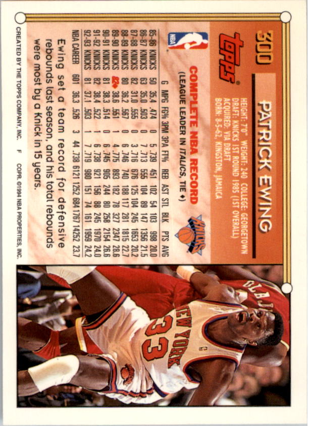1993-94 Topps Gold #300 Patrick Ewing back image