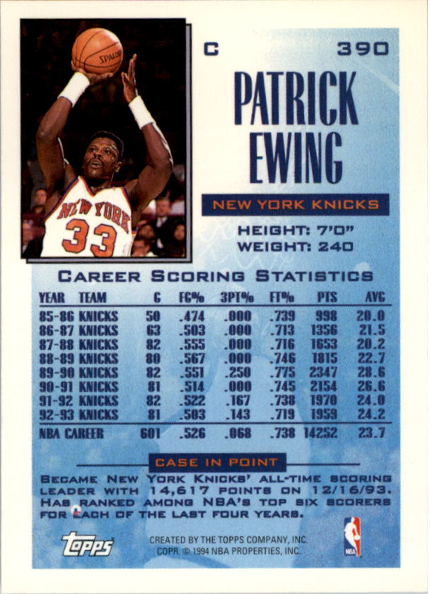 1993-94 Topps Gold #390 Patrick Ewing FSL back image