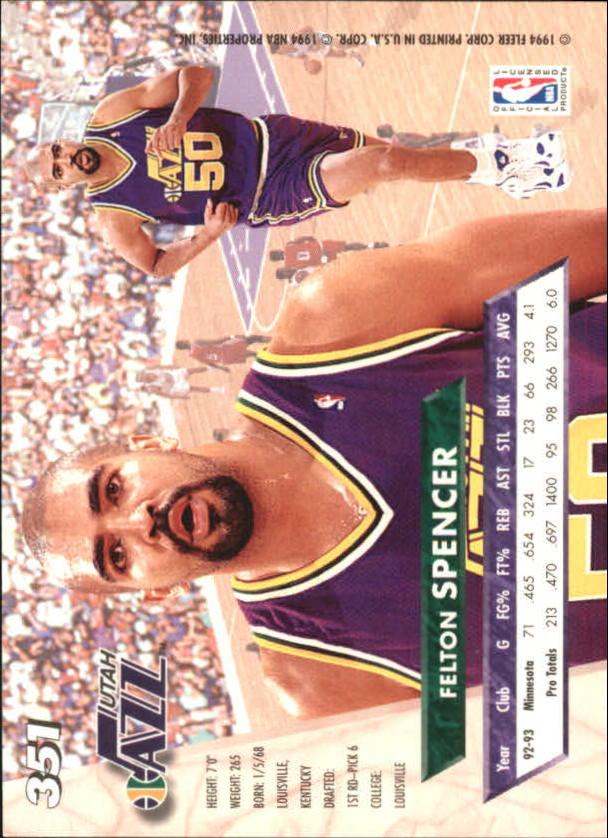 1993-94 Ultra #351 Felton Spencer