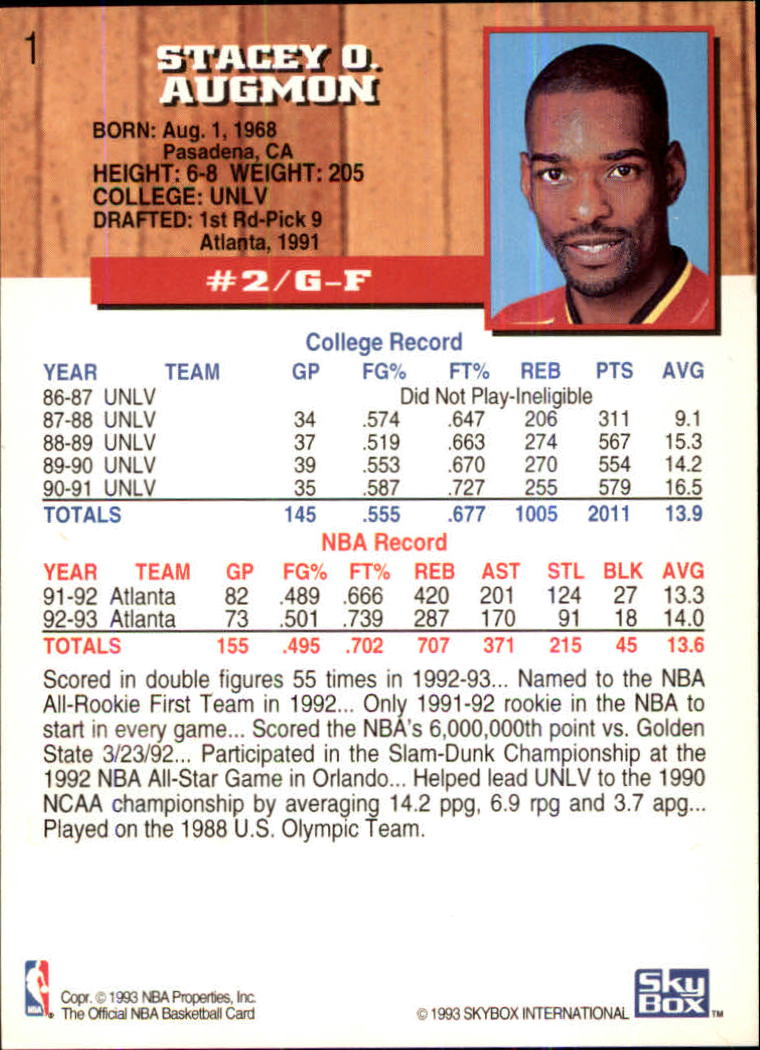 1993-94 Hoops Fifth Anniversary Gold #1 Stacey Augmon back image